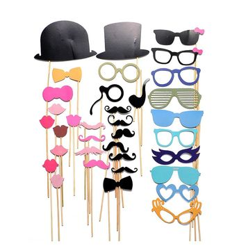 36PCS/lot New DIY Face Masks Photo Gatsby Props Mustache On A Stick Birthday Christmas Party Favor Decor