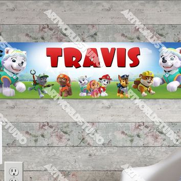 Personalized/Customized Paw Patrol #2 Poster, Border Mat and Frame Options Banner 176-2