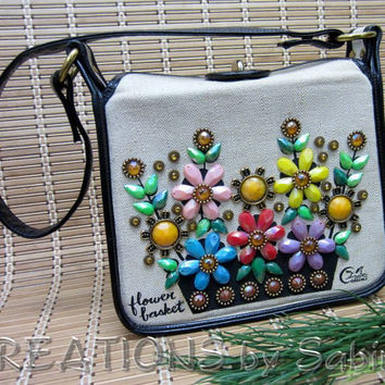 Collins Flower Basket Purse Canvas Leather Handbag, Horse Logo Beaded Flowers Floral Colorful Shiny Bling Texas, Vintage FREE SHIPPING (145)