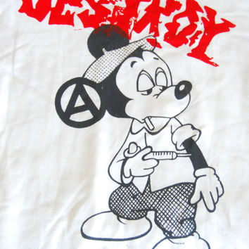 Mickey Fix Punk Screenprint DESTROY White Sweater by ThePirates