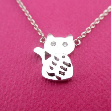 Adorable Kitty Cat and Fishbone Silhouette Shaped Choker Pendant Necklace in Silver