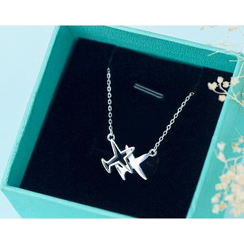 "Real. 925 Sterling Silver Double Plane /Aircraft Pendant Necklace airplane jewelry Chain -""New"" GTLX711"