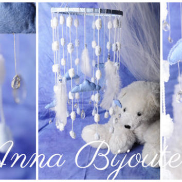 Original mobility Blue beby room boys girls white baby bed Nursery Mobile newborn baby cute nice gentle dreamcatcher lace handmade exclusive