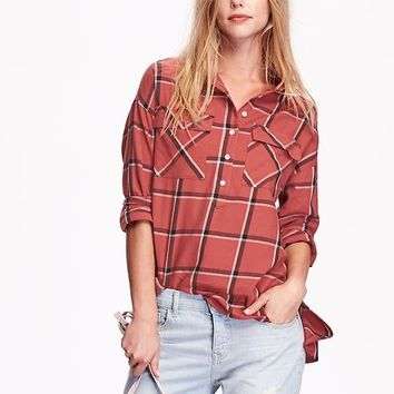 Old Navy Womens Plaid Flannel Pullover Boyfriend Shirt
