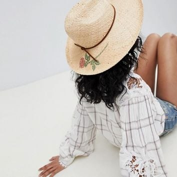 Brixton Straw Fedora With Printed Rose at asos.com