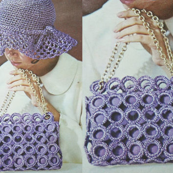 PDF Instant Download hat purse handbag sunhat crochet hat Vintage pattern crochet 70s knitted supplies epsteam purple knitting pattern