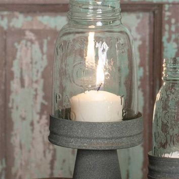 Mason Jar Chimney w/ Rustic Barn Roof Stand Midget Pint Candle Holder