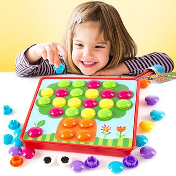 3D Puzzles Toys Mosaic Picture Puzzle Creative Mushroom Composite Puzzles Nail Kit For Children Button Art Kids Educational Toy