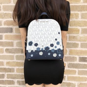 Michael Kors Emmy Small Backpack White MK Signature Navy Floral Glitter
