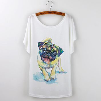 Summer T-Shirt Women Lovely Funny Pug Loose Batwing Sleeve Print T Shirt Women French Bulldog Tee Tops Femme White Camisetas
