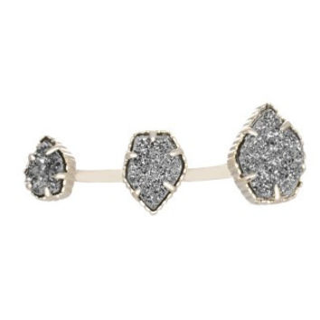 KENDRA SCOTT - Naomi Double Ring In Platinum Drusy