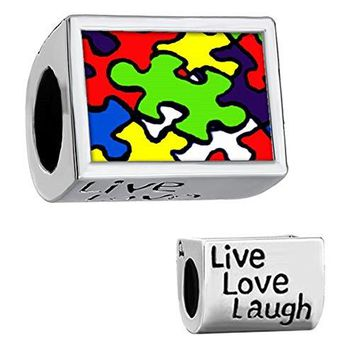 Charmed Craft Photo Charms Autism Awareness Charms Wish Love Heart Mom Butterfly Beads For Bracelets