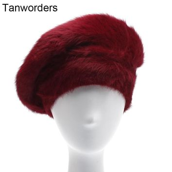Women Rabbit Fur Berets 2017 Autumn Winter Thick Warm Beret Hats Casual Solid Color Knitted Caps Boina Feminino