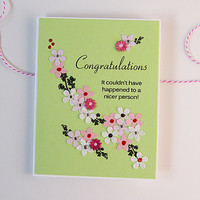 Handmade Congratulations paper goods card, hand-punched flowers & mulberry paper flowers, shabby chic lime green pink red white rhinestone