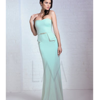 LM by Mignon HY1045 Mint Strapless Peplum Long Gown 2015 Prom Dresses