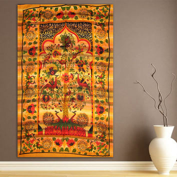 Tree of Life Yellow Tapestry, Indian Hippie Wall Hanging , Bohemian Bedspread, Mandala Cotton Dorm Decor Beach blanket