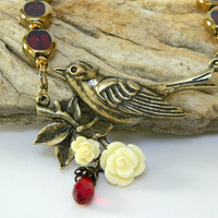 Marsala Red Necklace Gold Bird Pendant Beaded Glass Short Handmade