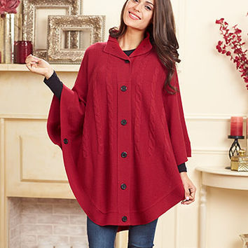 Women's Button-Up Neck Cable knit Sweater Poncho