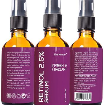 2 oz Retinol 2.5% (Vitamin A) - Facelift in a Bottle #3 - 100% Vegan Anti Aging Serum - SEE RESULTS OR MONEY-BACK - Big 2 ounce (Twice the Size) Wrinkle Erasing Formula - SOFTEN YOUR SKIN INSTANTLY!
