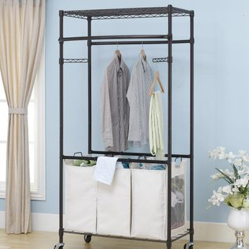 New Bronze 2-Tier Rolling Clothing Garment Rack Shelving Wire Shelf Dress G72