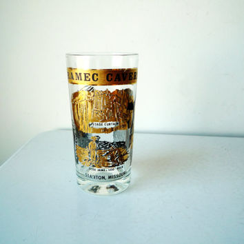 Midcentury Meramec Caverns Souvenir Glass, Gold and Black Meramec Caverns Souvenir Glass, SALE