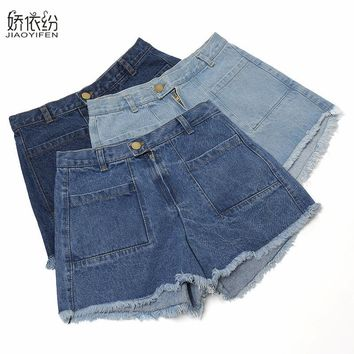 2017 New Hot Sale Fashion Women's Jeans Shorts Slim Leisure Student Jeans Summer Spring Plus Size Jeans Shorts JYF Brand