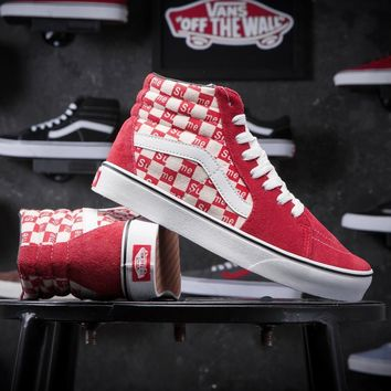 Supreme X Old Skool Vans Canvas Shoes Brand Women And Mens Supreme Logo Checkerboard Sneakers Skateboarding Shoes G-CSXY-2