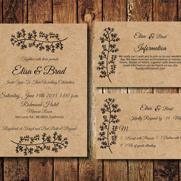 Rustic Wedding Invitation Suite, Kraft Paper Wedding Invite, Digital PDF, personalised casual simple wedding invitation