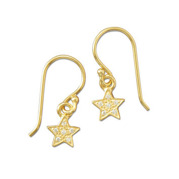 14 Karat Gold Plated Pave Cubic Zirconia Star Earrings
