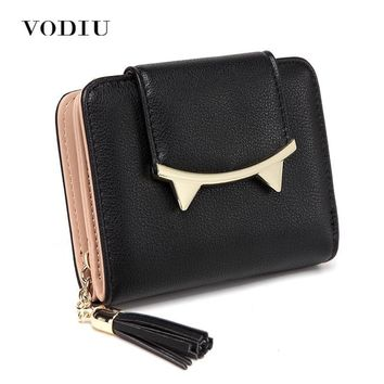 Women's Wallet Leather Cute Cat Anime Trifold With Tassel