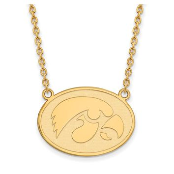 NCAA 14k Gold Plated Silver U of Iowa Hawkeye Disc Pendant Necklace