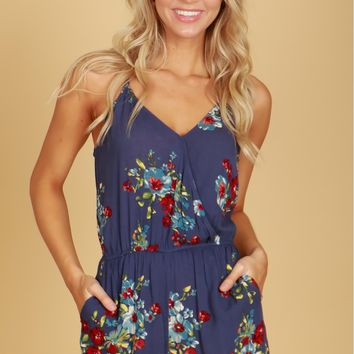 Ruffled Wrap Front Romper Navy