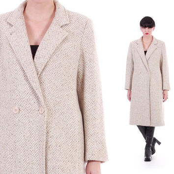 Speckled Sand Wool Maxi Coat Ivory Long Blazer 80s 90s Vintage Minimalist Modern Winter Outerwear Womens Clothing Size Medium