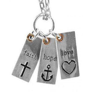 Christian Jewelry womens Love Notes Womens Necklace Faith HOPE Love