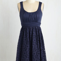 Short Length Sleeveless A-line Artisan Iced Tea Dress in Blueberry