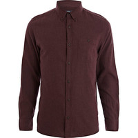 River Island MensRed flannel long sleeve shirt