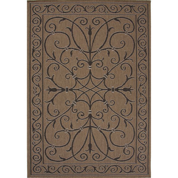 Jaipur Rugs IndoorOutdoor Arts And Crafts Pattern Taupe/Black Polypropylene Area Rug BRZ13 (Rectangle)