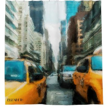 Yellow Taxi Cabs After Rain In New York City Shower Curtain