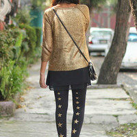 Superstar Line of Stars Print Tights Black - Zohara