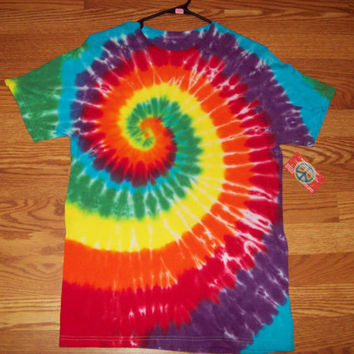 S M L XL Tie Dye Shirt, Adult, Short Sleeve - Rainbow Spiral