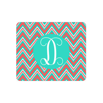 Coral Multi Chevron Mouse Pad