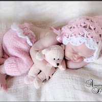2 PC Newborn Baby Girls Boys Crochet Knit Costume Photo Photography /0100_IC (Color: Pink) = 1958237892