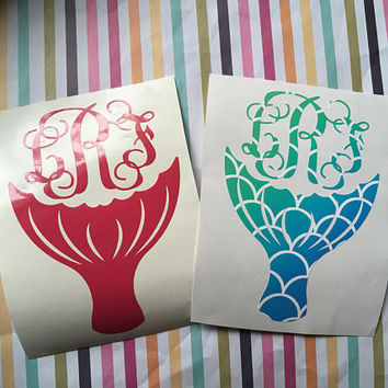 Mermaid Tail Monogram, Mermaid Scales decal, Stickers for Cups, Gift for Best Friend