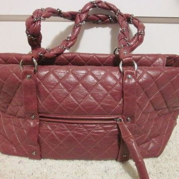 CHANEL BROWN QUILTED LEATHER BAG TOTE HANDBAG PURSE SATCHEL DIAPER GYM BAG