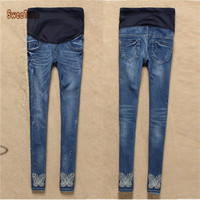 New Maternity Slim Embroidered Jeans Belly Casual Elastic Trousers Pregnant Women Long Jeans Maternity Adjustable Pencil Pants