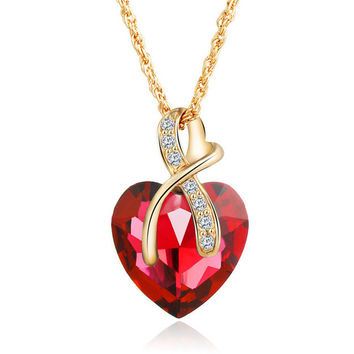 Austrian Crystal Heart Pendant Necklace for Women. Gold Color Love Necklace with FREE Shipping!