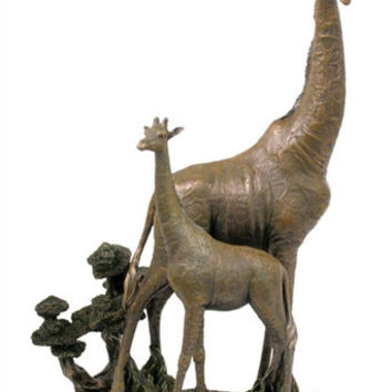 Mother and Baby Giraffe Calf Statue - 8353