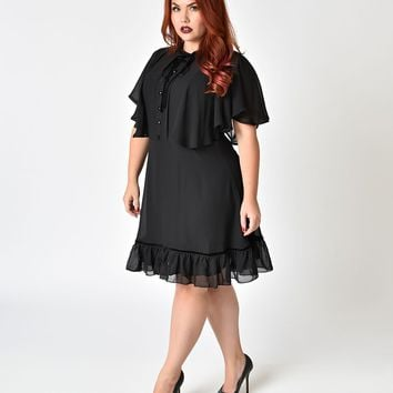 Hell Bunny Plus Size 1940s Style Black Mesh Sleeved Imperia Flare Dress