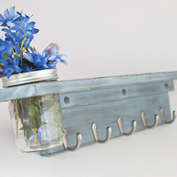 Country Wall Shelf with 5 Coat Hooks and Mason Jar Vase distressed Blue Gray- Twigs Decor