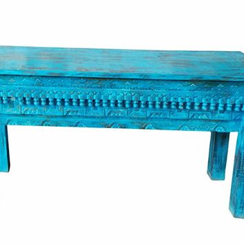 Mogul Interior Teal Blue Antique Beautiful Hand Carved Console Table